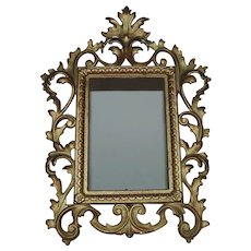 """19th c. French Rococo Style Picture Frame Antique for Miniature Portrait 6"""" x 4 1/4"""" Opening"""
