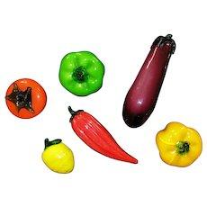 6 Murano Glass Fruits & Vegetables Venetian Italian