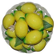 Vintage Italian Basket of Lemons Ceramic Centerpiece Italy