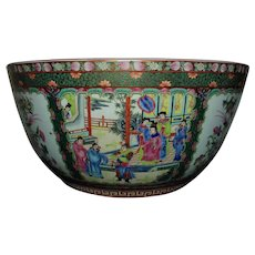 "HUGE Chinese Export Famille Rose Medallion Punch Bowl Asian Oriental 16 1/4"" Diameter HEAVY!"