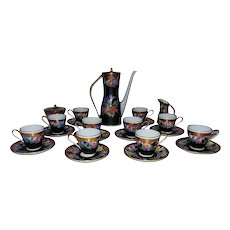 French Limoges Vieux Paris Tea / Chocolate / Demitasse / Espresso Set Pot Creamer Sugar Cups & Saucers Roses Art Deco