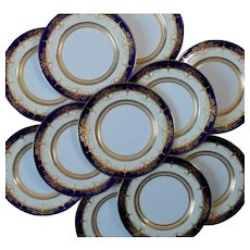 Set of 11 Mintons Dinner Plates Cobalt Blue & Raised Gold Service Cabinet