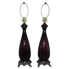 Pair Murano Table Lamps Amethyst Glass Mid Century Modern Purple Italian Venetian