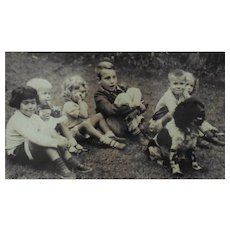 3 B & W Vintage Photographs of Children & Dog Spaniel
