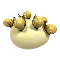 Rare Sergio Bustamante Modern Sculpture 6 Snails Crawling on Egg Mexican Surrealist Surrealism Signed
