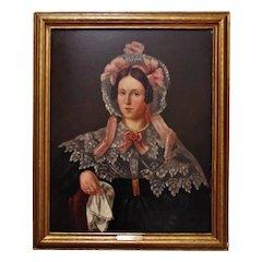 19th c. Portrait Painting Lady Woman Oil on Canvas Antique American School