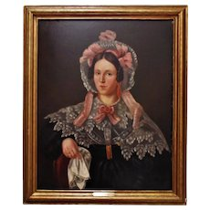 19th c. Portrait Painting Lady Woman Oil on Canvas Antique American School