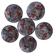 """Set of 6 Chinese Export Soup Bowls 9"""" Famille Rose Medallion"""