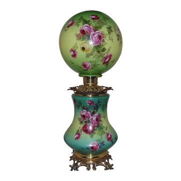 LARGE 19th c. Victorian Roses Banquet Lamp Oil / Kerosene to Electric Gone with the Wind Antique