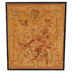 18th c. Flemish Tapestry Still Life Flowers & Birds Antique