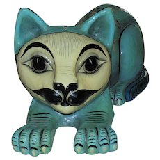 LARGE Sergio Bustamante Papier Mache Cat Sculpture Mexican Modern Folk Art with Owls