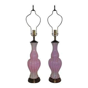 Pair of Italian Murano Glass Table Lamps Pink with Gold Flecks Venetian Mid Century Modern