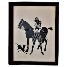 Antique Cut Paper Silhouette Female Woman Jockey Race Horse & Dog