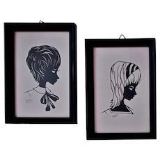Pair Vintage Cut Paper Silhouettes Boy & Girl Signed