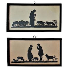 Pair Antique Cut Paper Silhouette Dutch Shepherds Man Woman Dog Sheep Religious