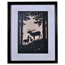 Antique Cut Paper Silhouette Deer Doe Fawn Buck in the Forest