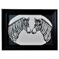 Vintage Cut Paper Silhouette Pair of Zebras