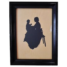 Antique Cut Paper Silhouette Mother & Baby Child 1882 Signed