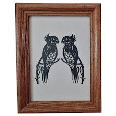 Vintage Cut Paper Silhouette Pair of Birds Parrots