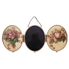 RARE Paul de Longpre Triptych Beveled Mirror Victorian Antique 3 Part Floral Flowers Shabby Cottage Chic