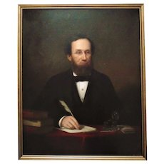 19th c.  Portrait Painting of a Gentleman Man Oil on Canvas Listed Artist George Conarroe Antique Victorian