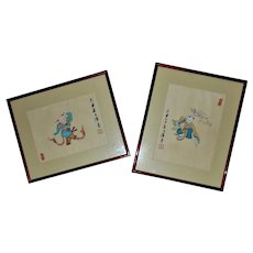Pair of Chinese Signed Watercolor Paintings Boys Children Playing Asian Oriental