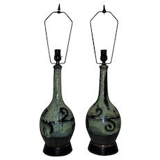 Pair 1960s Brutalist Pottery Table Lamps Mid Century Modern Green & Black Vintage