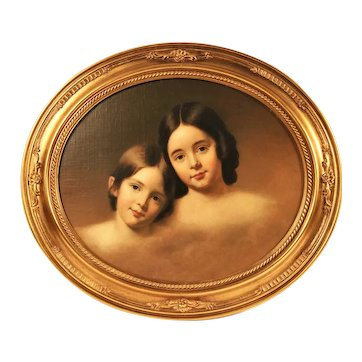 19th c. Portrait Painting Girls Sisters Antique Victorian Oil on Canvas