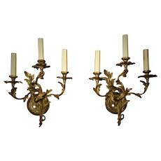 Pair of Vintage Brass Wall Sconces Rococo Style Danish