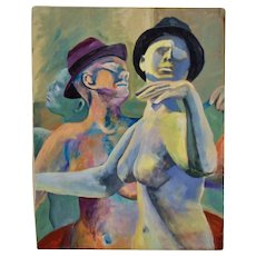 Surreal Modernist Portrait Painting of Dancing Nudes Androgynous Male Oil on Canvas