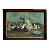 Antique Cats Kittens Chromolithograph Marie Guise Newcomb Lithograph Print c. 1892