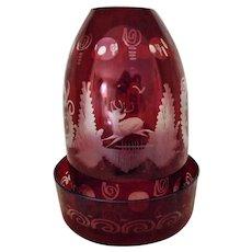 Egermann Fairy Lamp Bohemian Ruby Red Glass Deer Buck Czech Candle Holder
