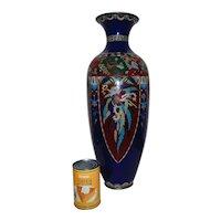 "SPECTACULAR 21"" Japanese Cloisonne Vase Cobalt Blue with Phoenix Birds"