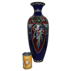"SPECTACULAR 21"" Japanese Cloisonne Vase Cobalt Blue with Phoenix Birds"