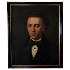 19th c. Portrait Painting Young Gentleman Antique Victorian Oil on Canvas