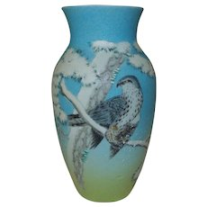 SPECTACULAR Asian Porcelain Vase with Bird Signed Chinese or Japanese