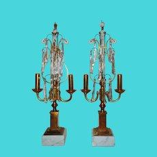 Pair of Italian Brass Candelabra Girandole Lyre Lamps Mid Century Modern w/ Prisms
