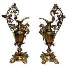 Pair of Antique Gilt Metal Ewers Cherubs Dolphins Birds & Griffins Gothic