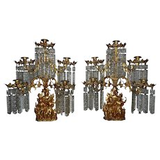 RARE Pair of Antique Cornelius & Co. Girandoles Candelabra Gilt Brass c. 1840s Daniel Boone & the Last of the Mohicans
