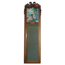 19th c. French Victorian Trumeau Antique Wall Mirror