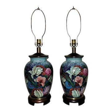 Pair of Modern Table Lamps Floral Flowers Frederick Cooper