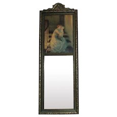 Art Deco Trumeau Wall Mirror Mother & Child Print by Samuel Schiff GOOD NIGHT KISS