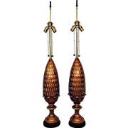 RARE Pair of TALL Marbro Pineapple Table Lamps Italian Mid Century Modern