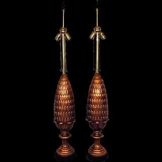 RARE Pair of TALL Marbro Pineapple Table Lamps Italian Mid Century Modern