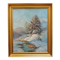 Winter Landscape Painting Oil on Canvas Signed Jerri Blakely