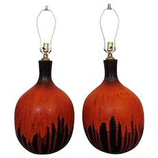 LARGE Pair of Table Lamps Mid Century Modern Brutalist Organic Gourd Form Drip Glaze