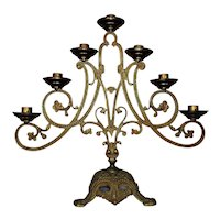Antique Art Nouveau Candelabra 7 Lights Gilt Metal