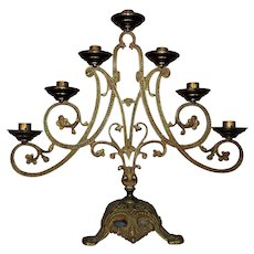 Antique Art Nouveau Candelabra 7 Lights Gilt Metal
