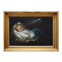 19th c. Portrait Painting Baby Jesus Birth Nativity Religious Signed