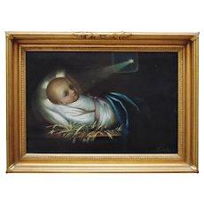 19th c. Portrait Painting Baby Jesus Birth Nativity Religious Signed